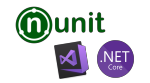 Visual Studio for Mac, NUnit and .NET Core logos