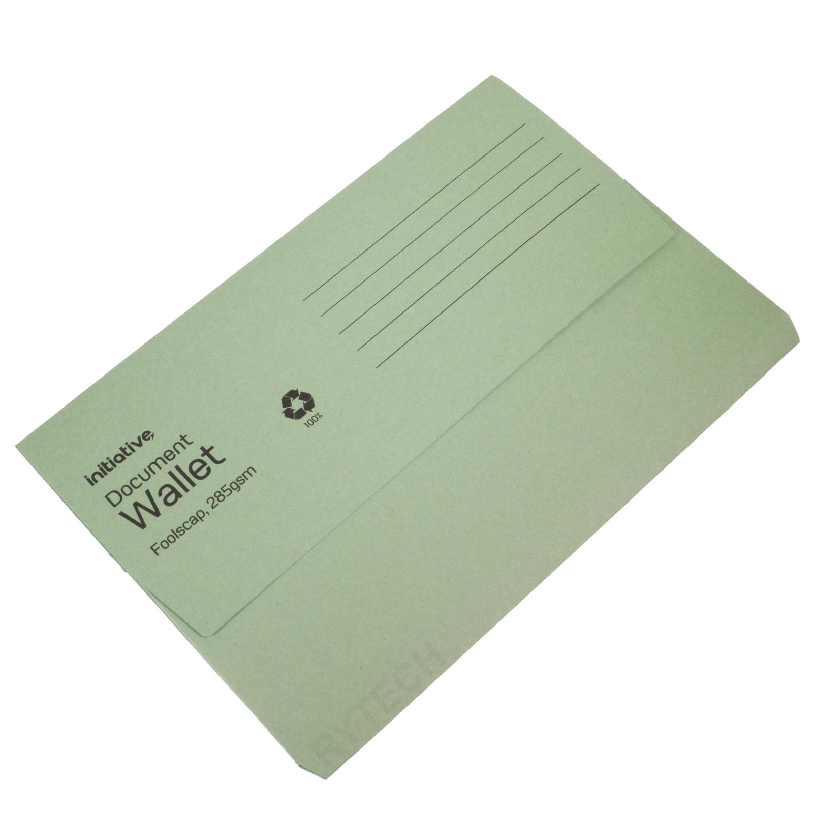 50 x Green Document Wallets 285gsm Initiative Brand REF PW9316