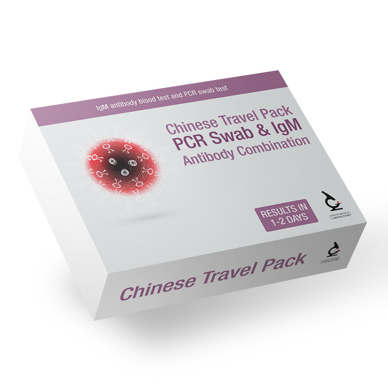 Chinese Travel Pack - PCR Swab & IgM Antibody Combination - Next Day Results*