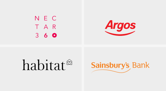 Logos for Nectar360, Argos, Habitat and Sainsbury's Bank