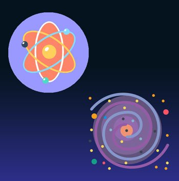 Atom and galaxy icons