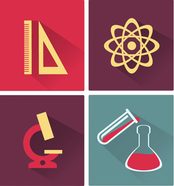 Icons representing maths and science