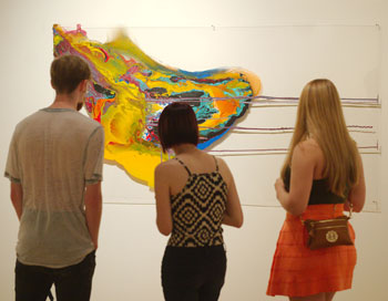 Students in an art gallery