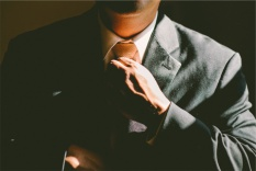 Photo of a man in a suit going to work