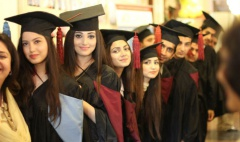 Students in a queue for graduation