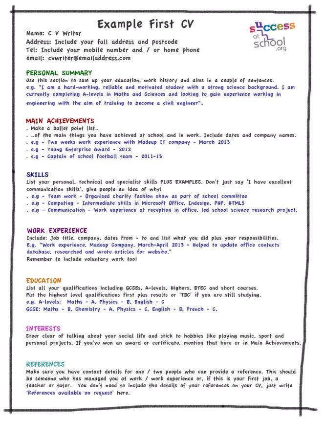 Teen Resume Example. First Resume Template For Teenagers | Teen ...