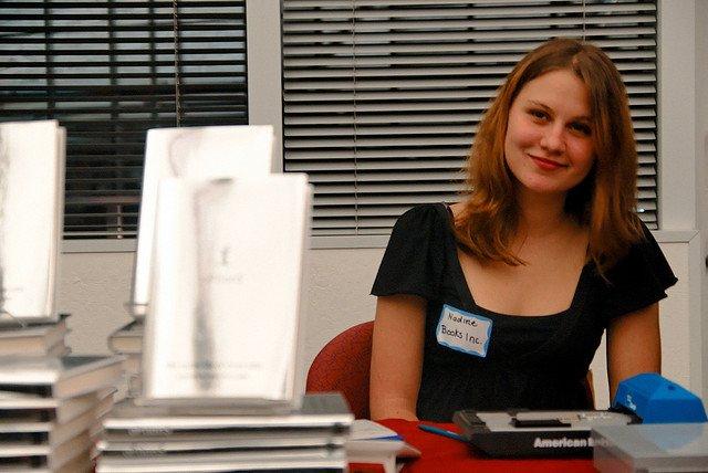 Woman at recruitment fair