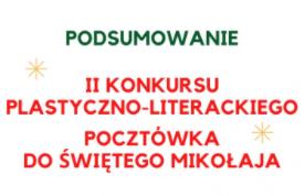 """Podsumowanie II Konkursu Plastyczno-Literackiego """"Pocztówka do Świętego Mikołaja"""" image"""