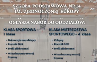 ZAPISY DO KLAS SPORTOWYCH NA ROK 2021/2022 image