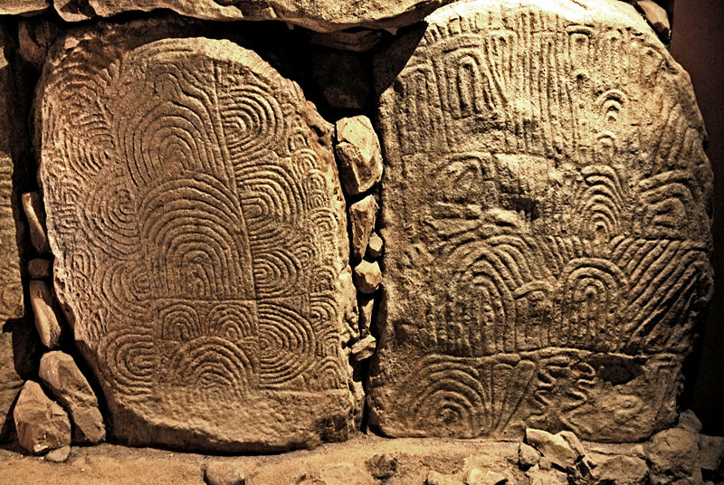 Replica of decorated slabs from the Gavrinis Passage Grave (Gulf of Morbihan in Brittany, France) in Bougon Museum (Source of Image: Wikipedia)