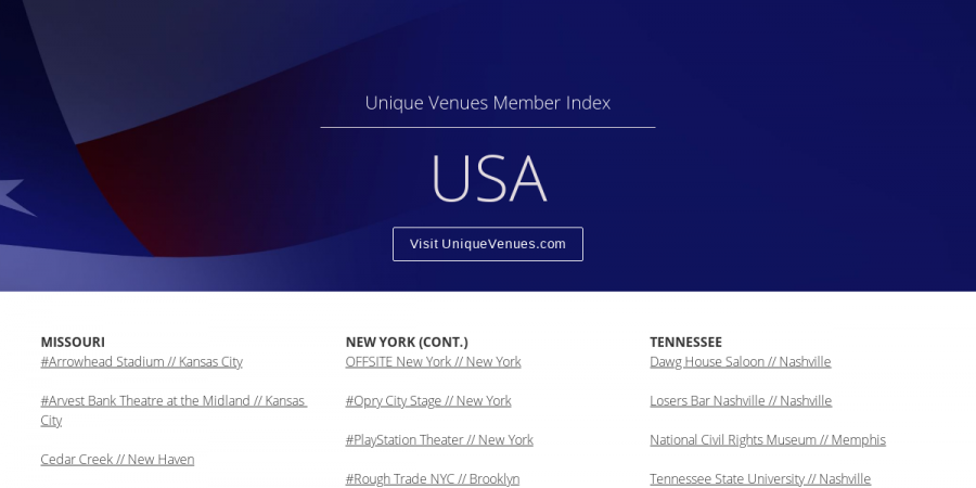 USA - Index (continued) - Unique Venues Magazine | March 2019