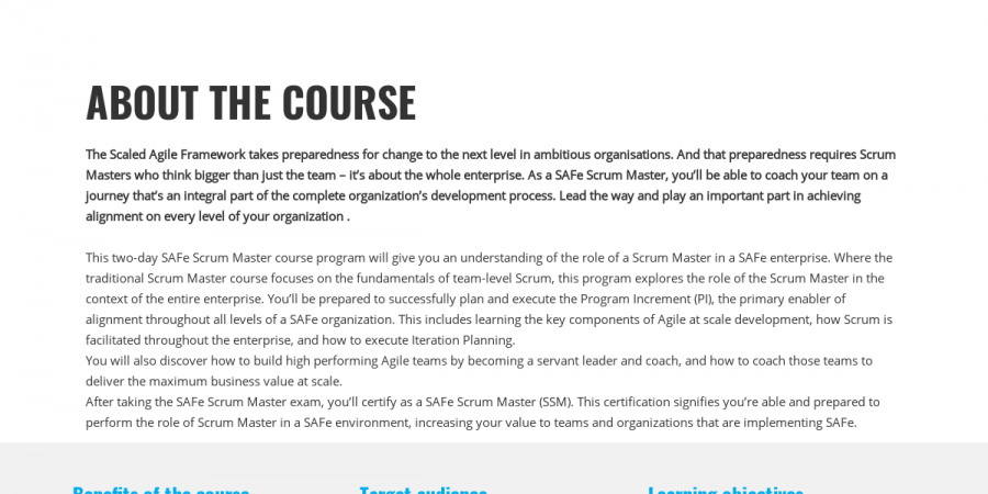 About The Course In Safe Scrum Master Ssm