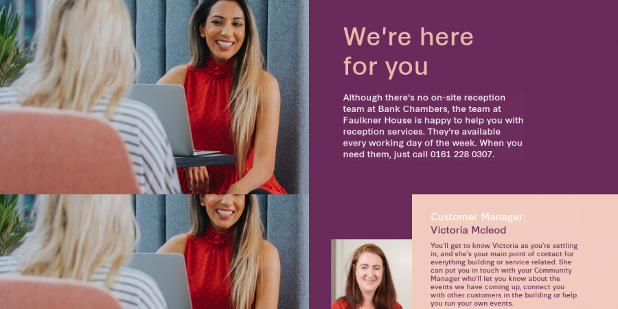 We're here for you - Bank Chambers welcome pack new