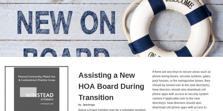 Community Association Living-Q12019 - Board Transition