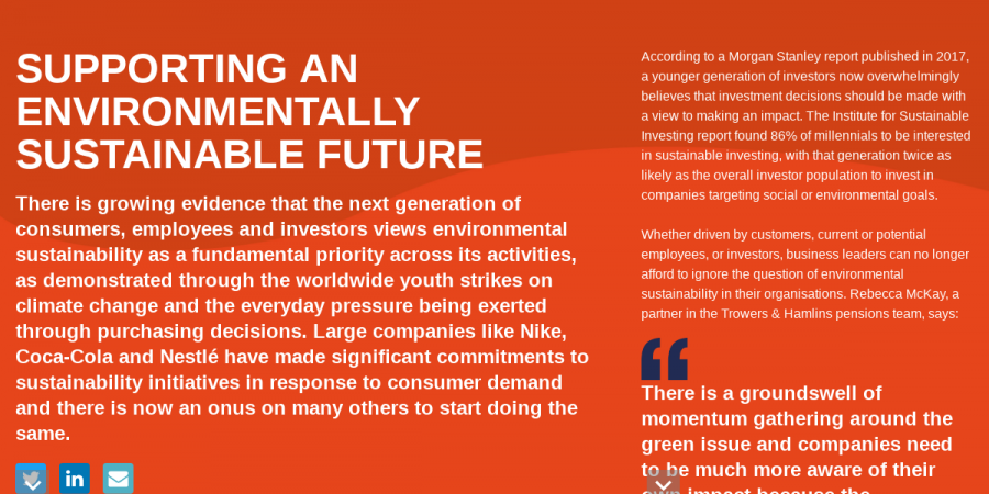 SUPPORTING AN ENVIRONMENTALLY SUSTAINABLE FUTURE - Thinking Business Six