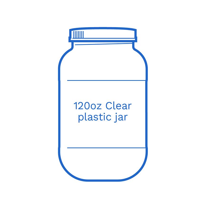 120oz clear plastic jar FSUS Hillside