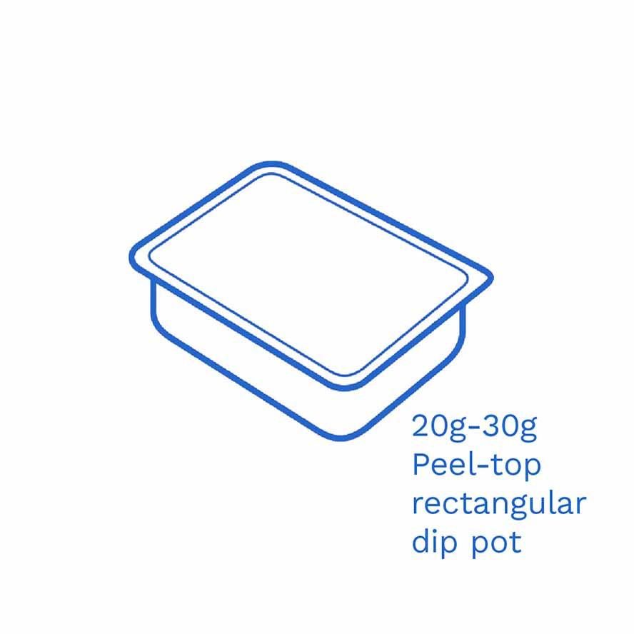 20g 30g Peel top rectangular dip pot FSUK Hastings