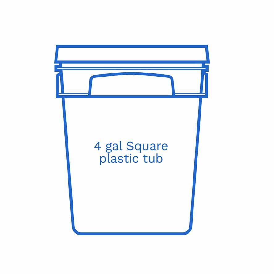 4 gal square plastic tub FSUS Hillside
