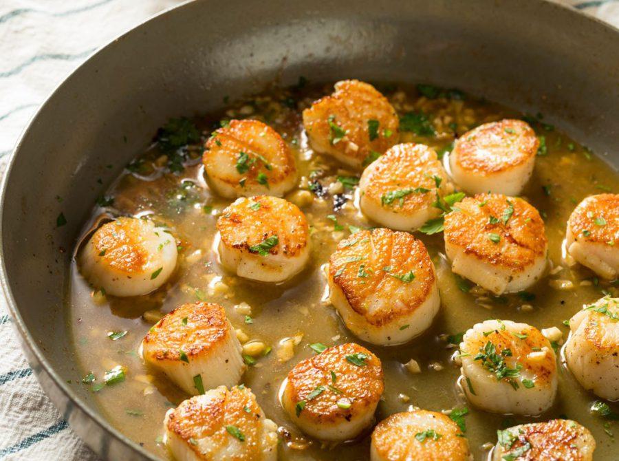 Seared garlic and herb scallops