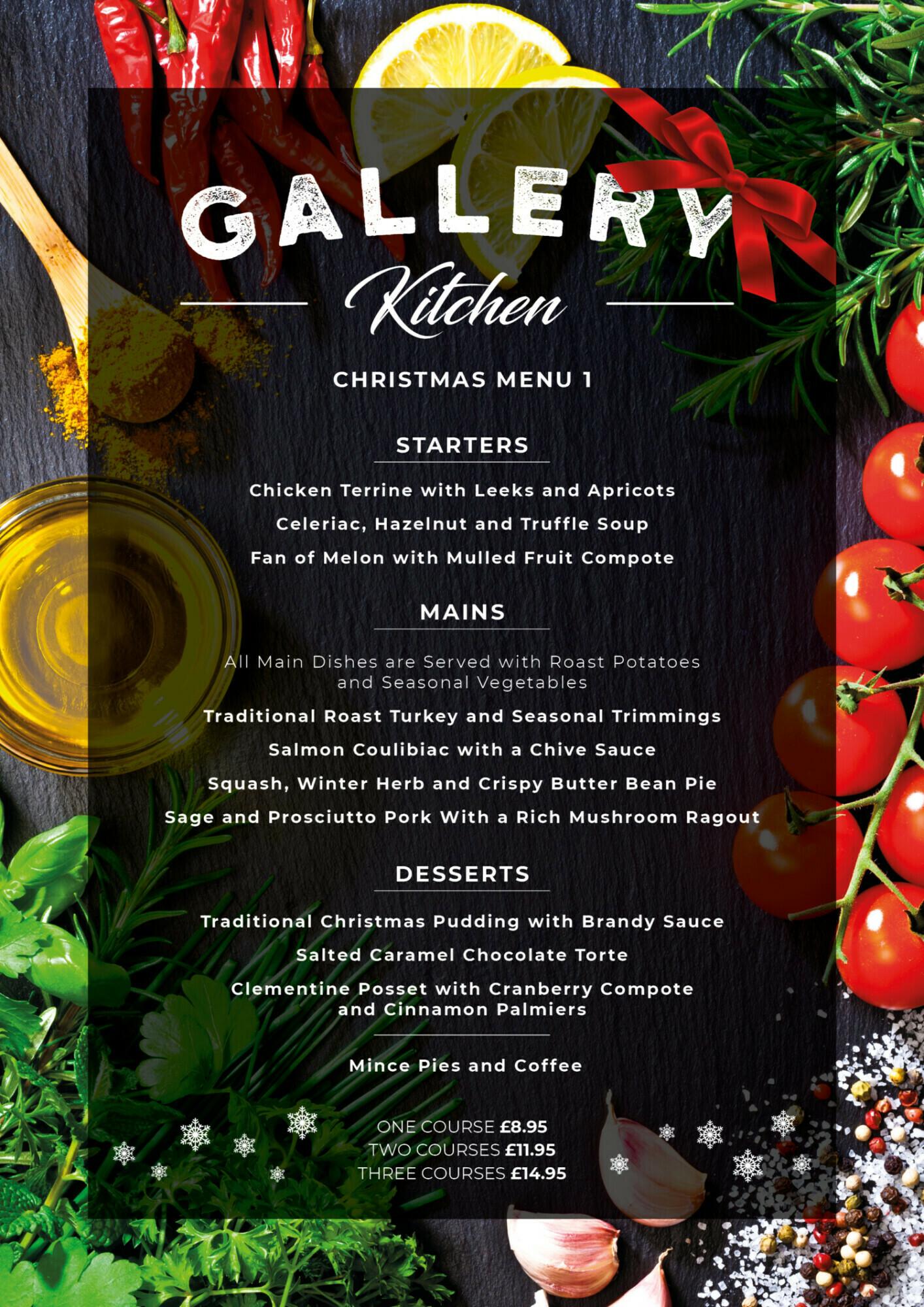 Gallery Restaurant Christmas Menu 1