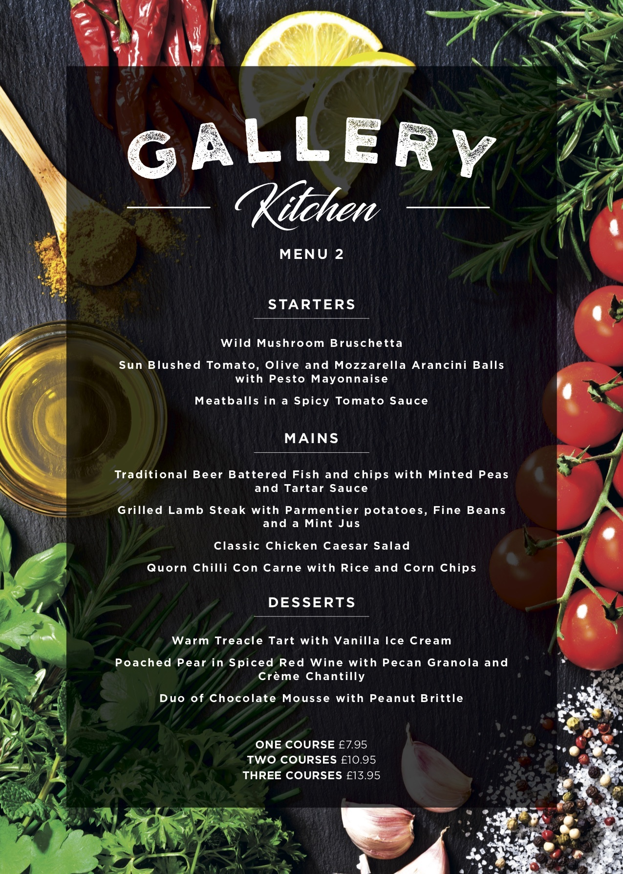 Gallery Restaurant Menu 2