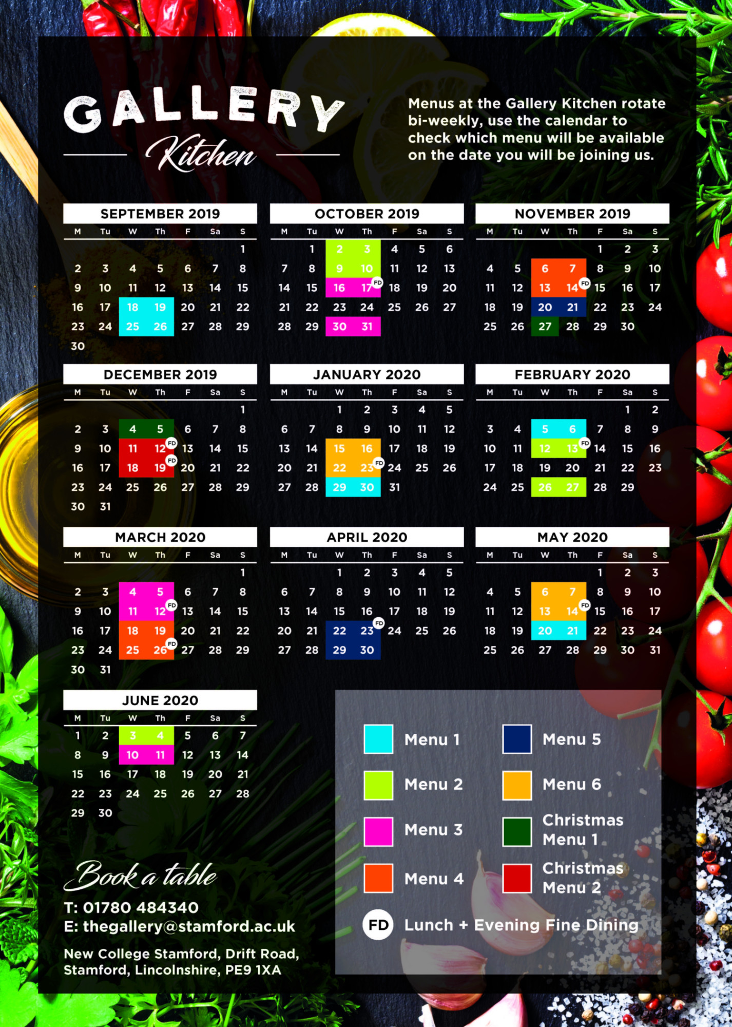 Gallery Restaurant Menu Calendar