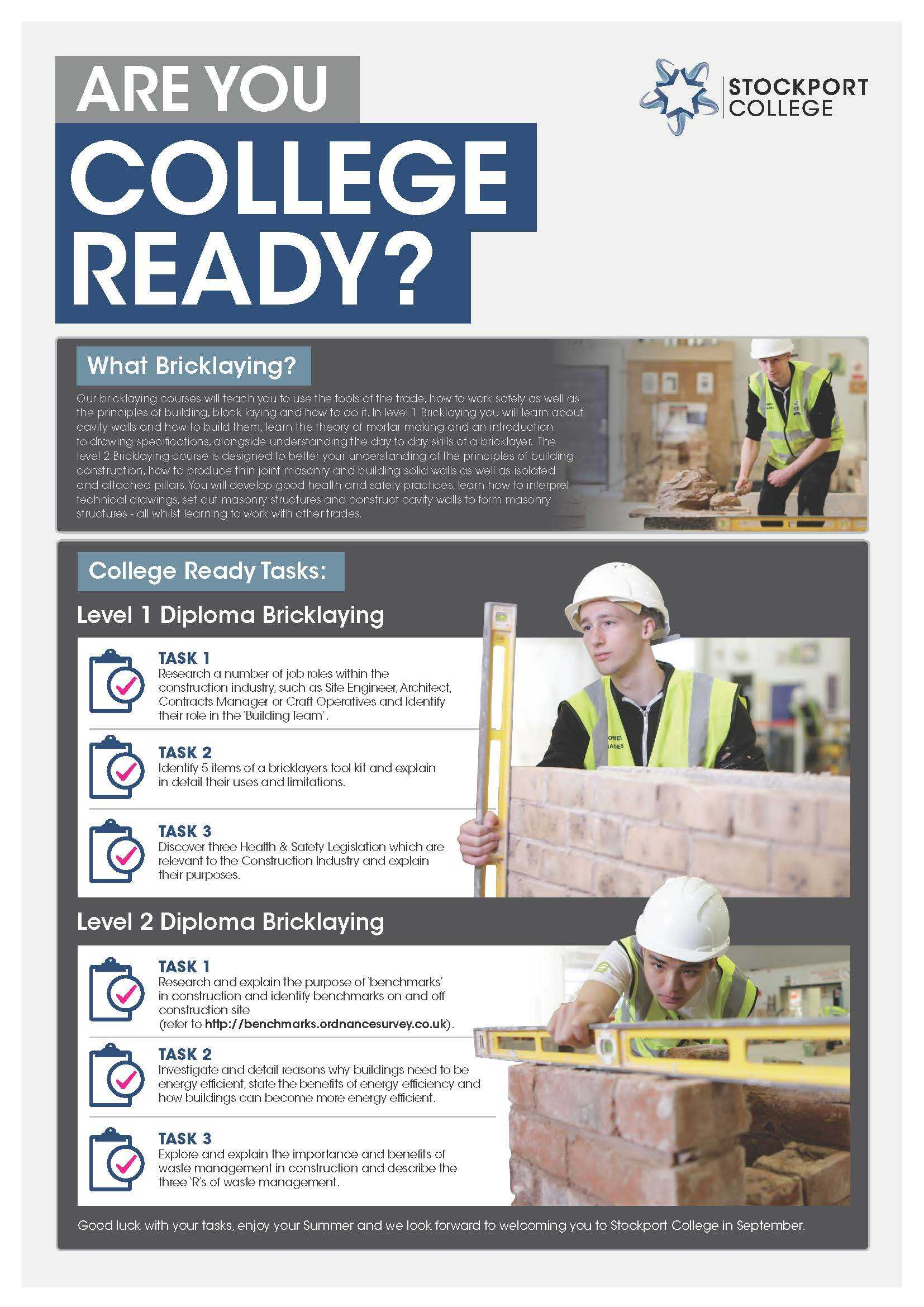 Are You College Ready Transition Leaflet Bricklaying STOCKPORT May20
