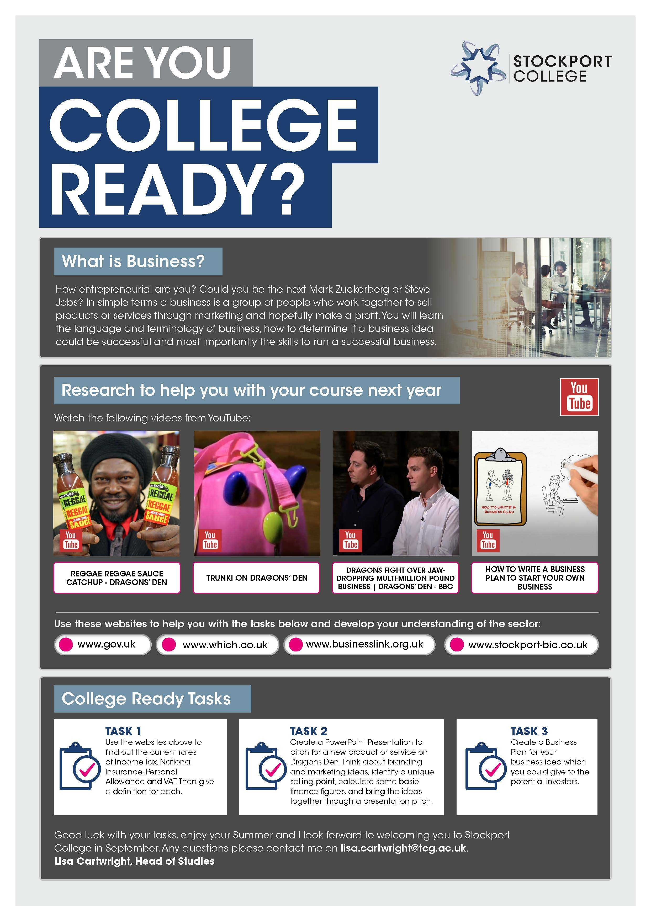 Are You College Ready Transition Leaflet Business STOCKPORT Jun20