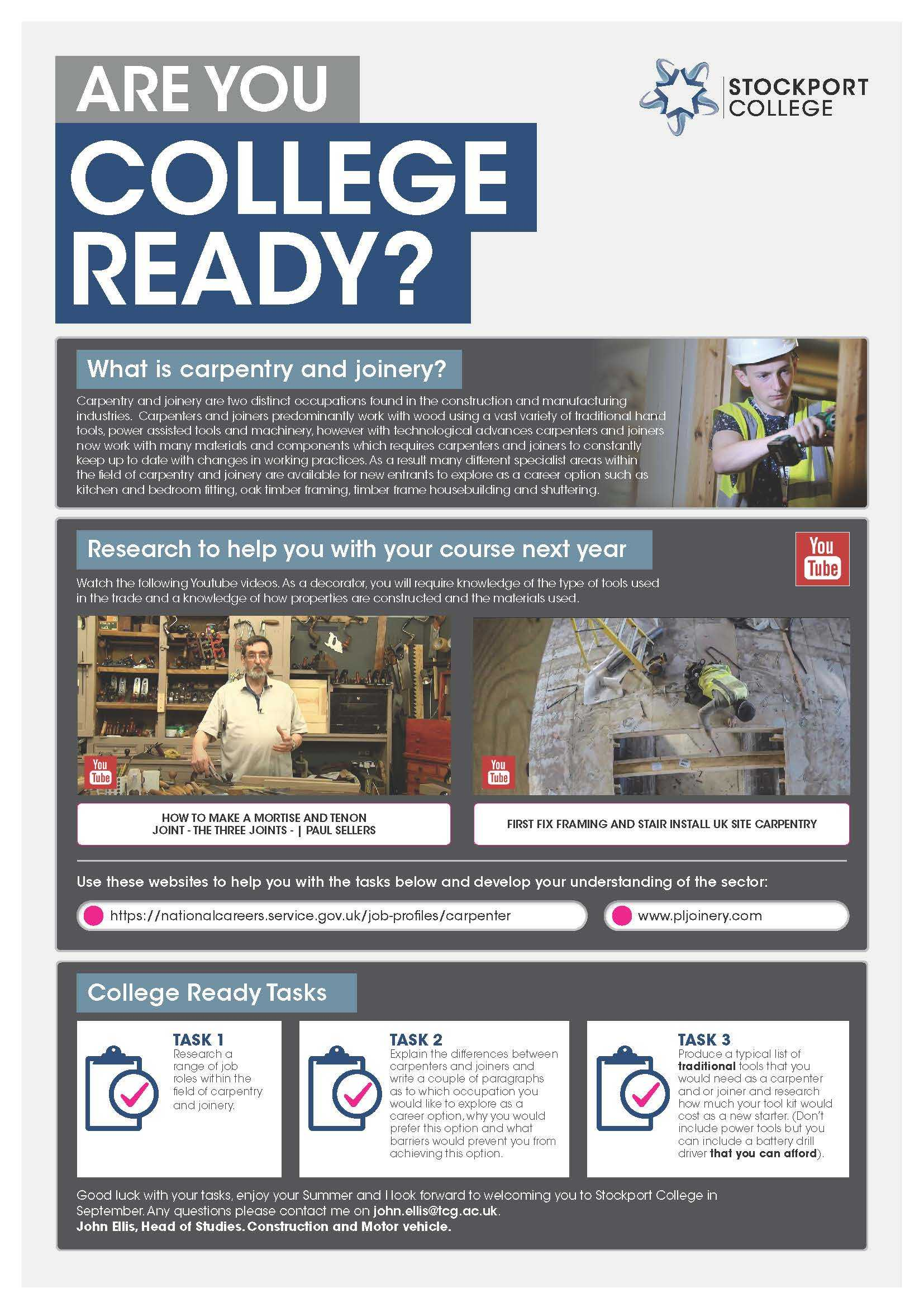 Are You College Ready Transition Leaflet Carpentry Joinery STOCKPORT May20