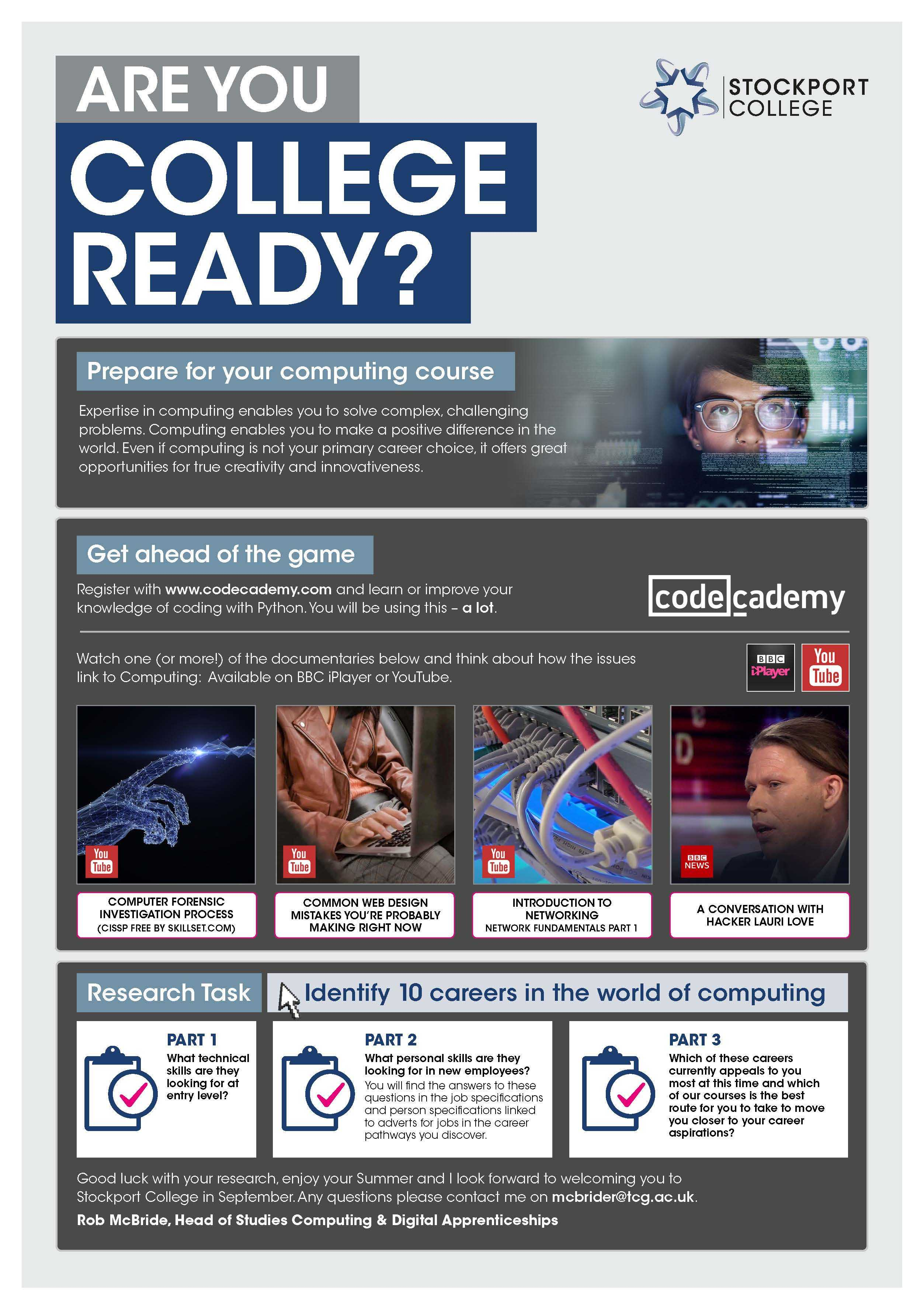 Are You College Ready Transition Leaflet Computing STOCKPORT Jun20