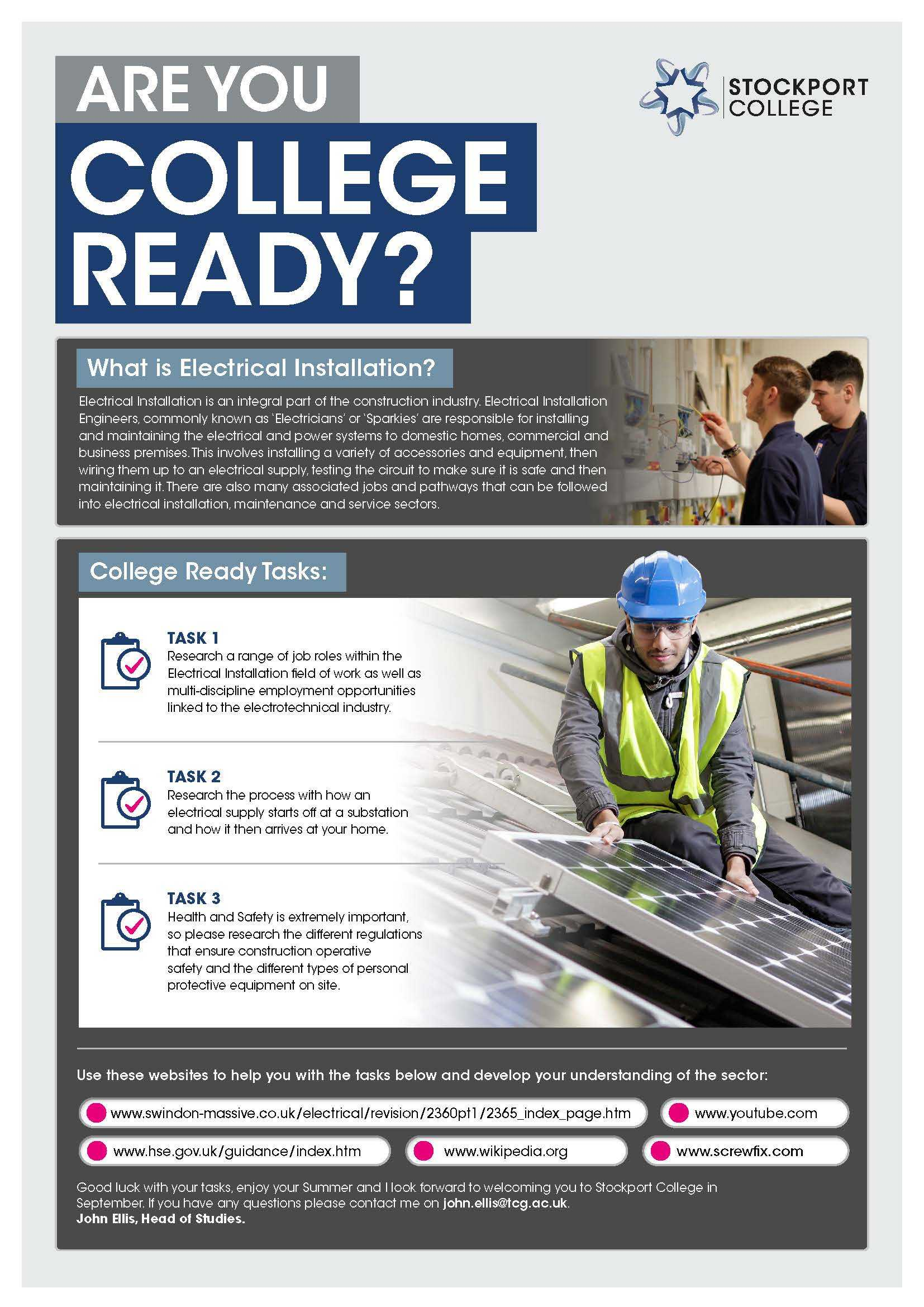 Are You College Ready Transition Leaflet Electricalnstallation STOCKPORT Jun20