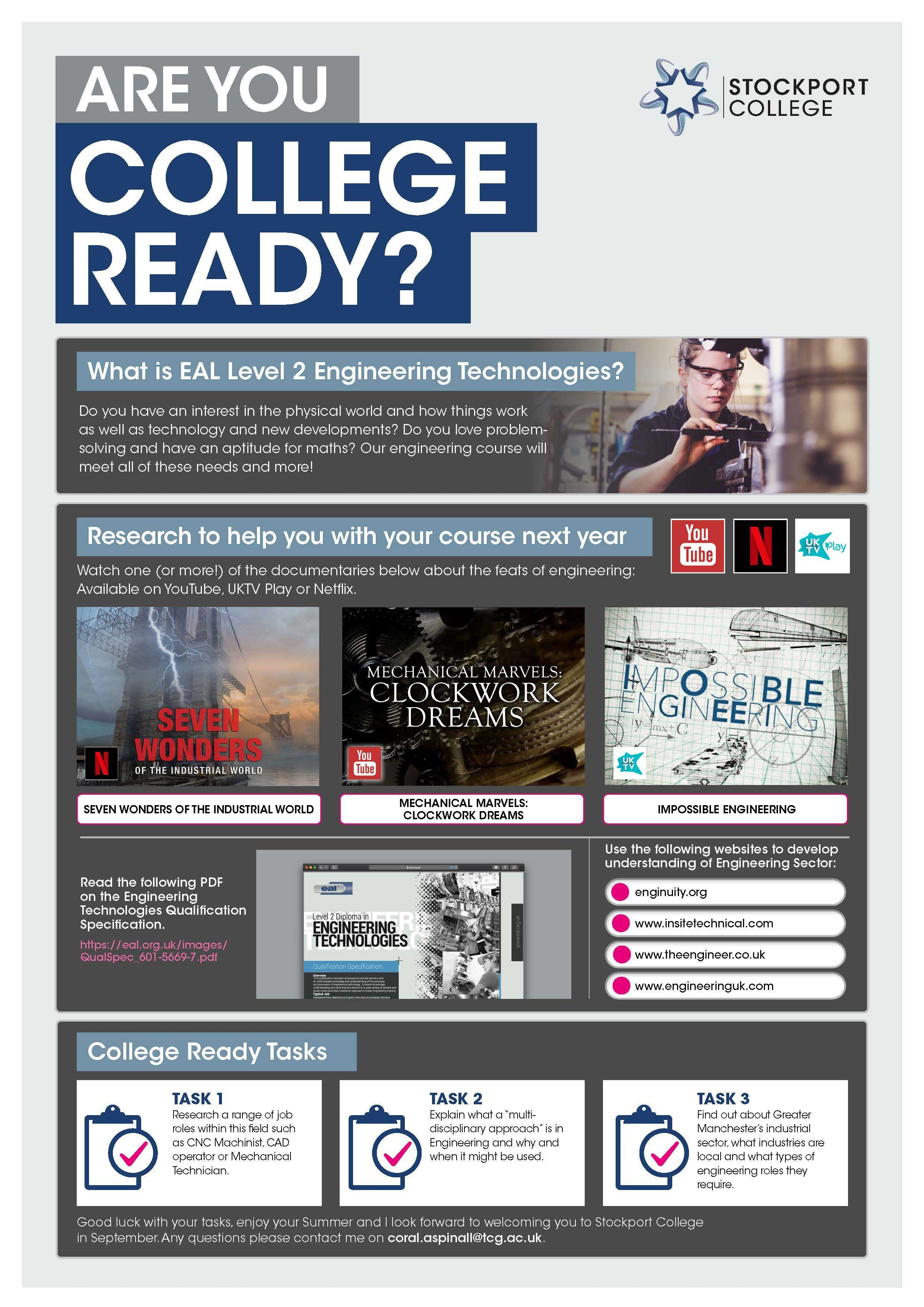 Are You College Ready Transition Leaflet Engineering STOCKPORT Jun20