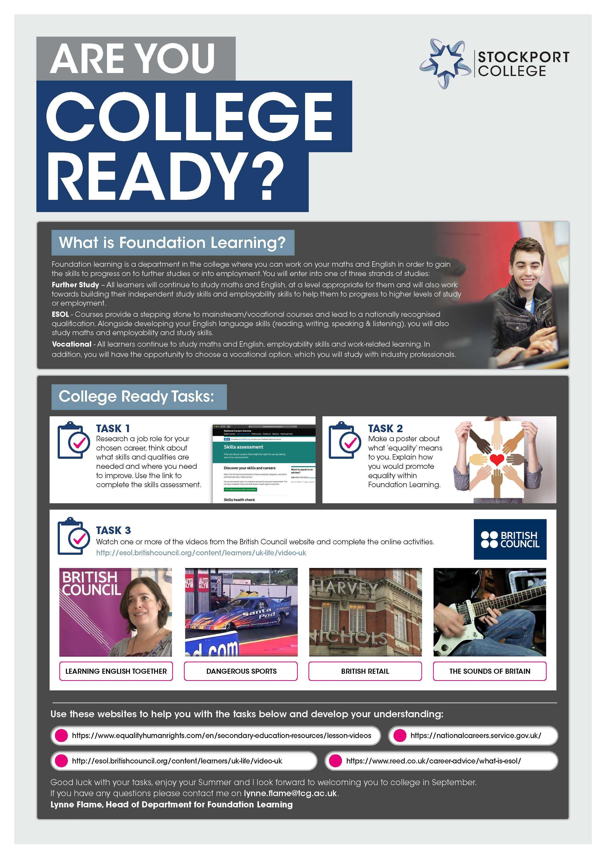 Are You College Ready Transition Leaflet Foundation Learning STOCKPORT Jun20