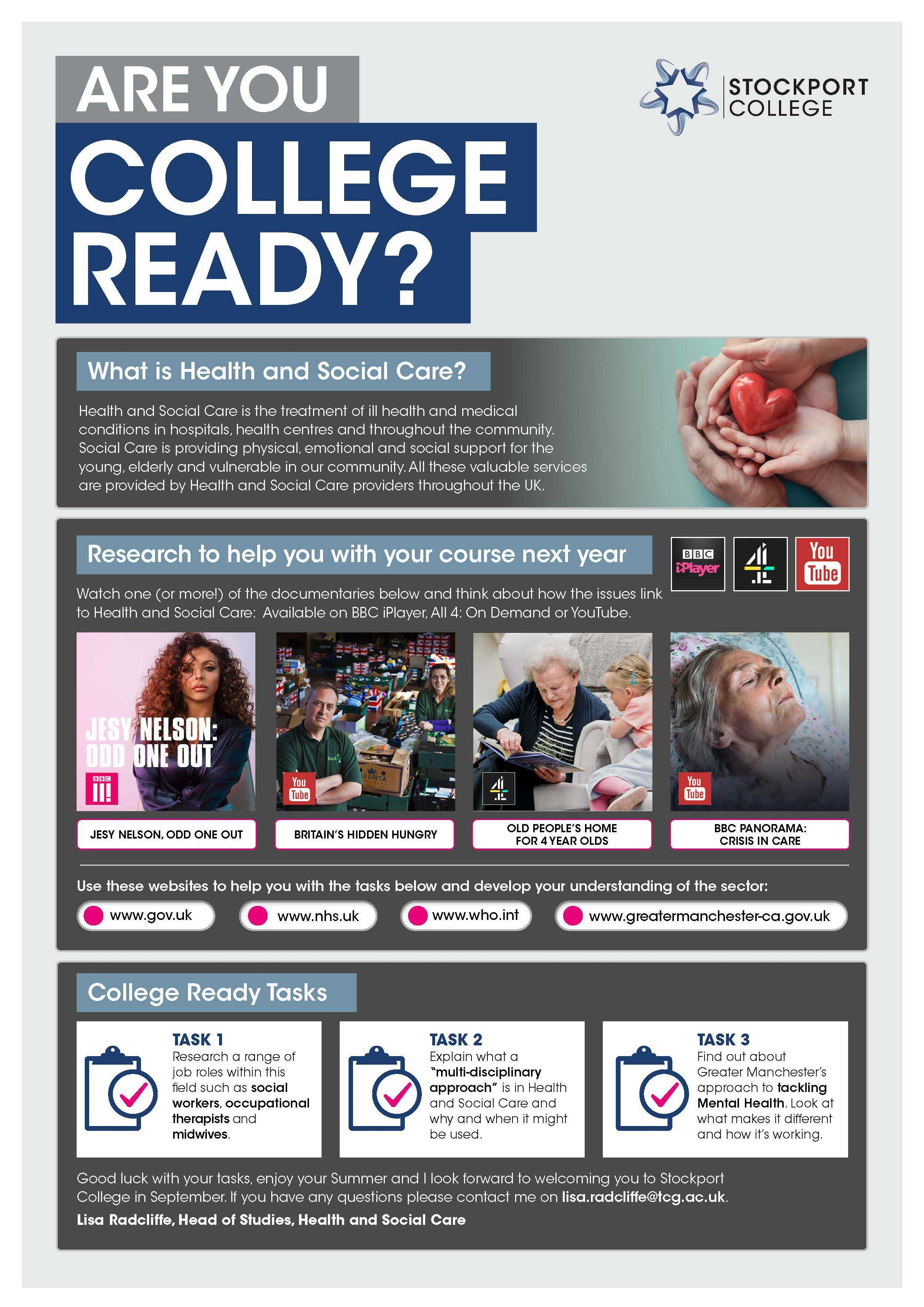 Are You College Ready Transition Leaflet Health Social Care STOCKPORT Jul20