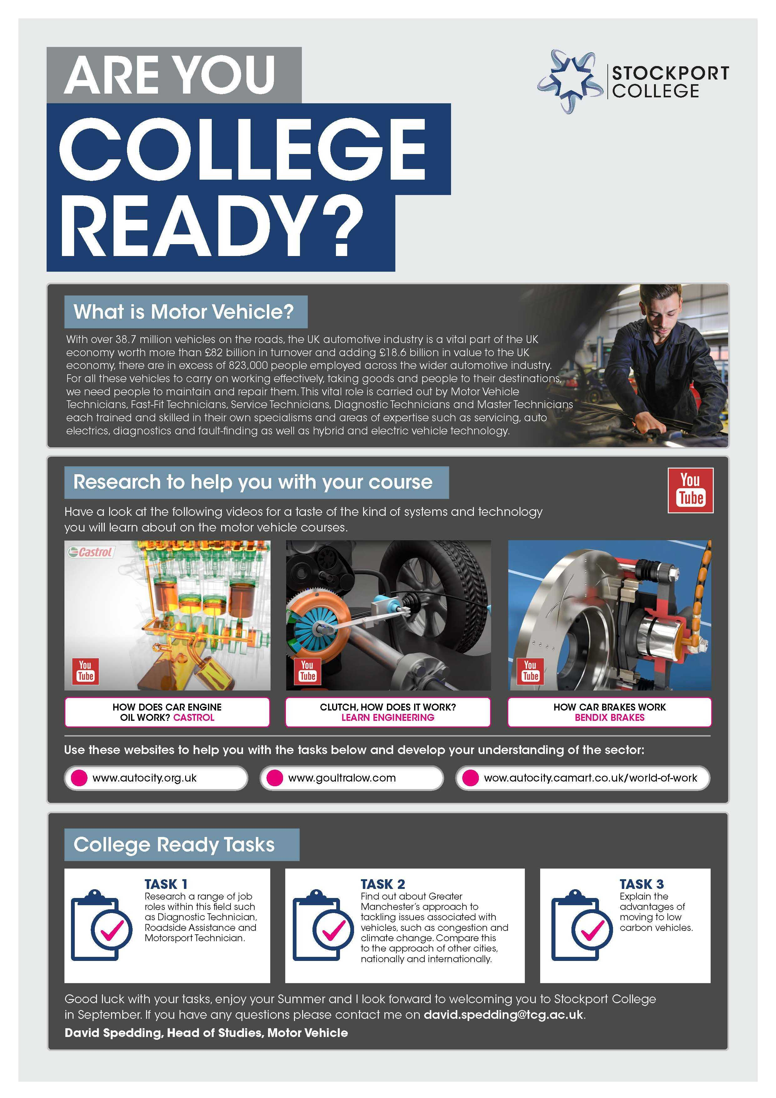 Are You College Ready Transition Leaflet Motor Vehicle STOCKPORT Jun20