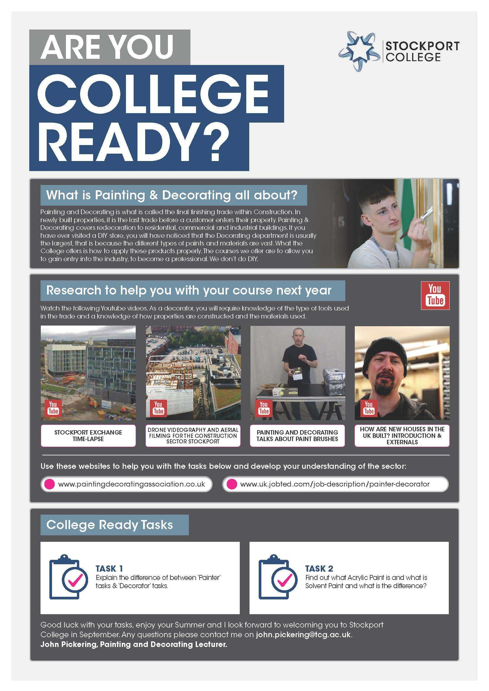 Are You College Ready Transition Leaflet Painting Decorating STOCKPORT May20