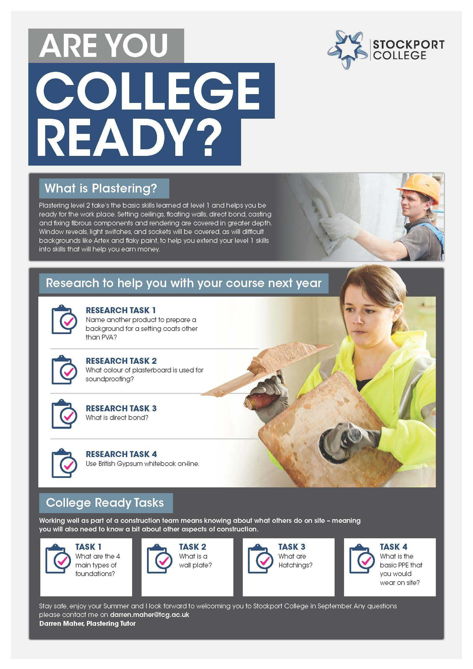 Are You College Ready Transition Leaflet Plastering STOCKPORT May20