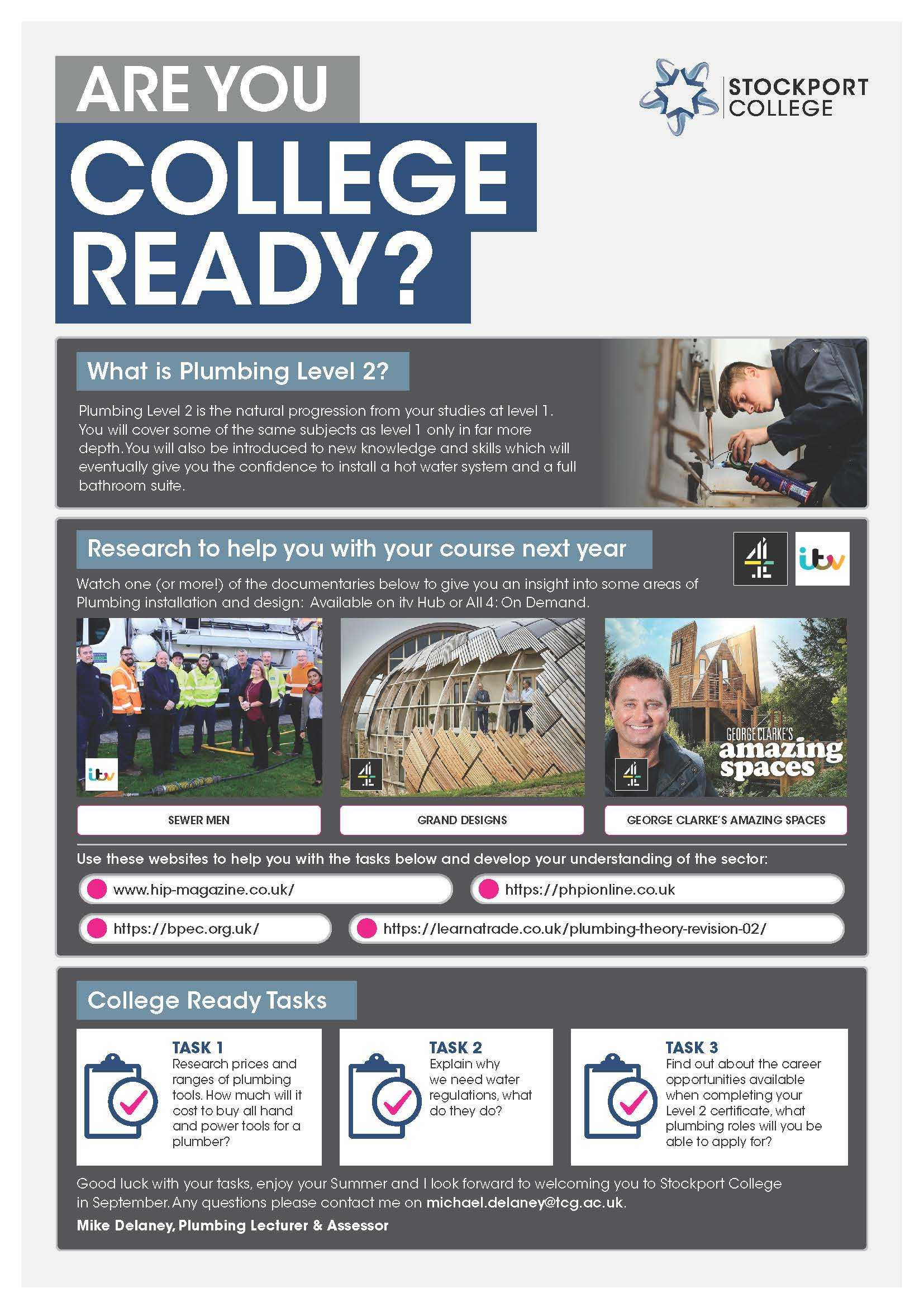 Are You College Ready Transition Leaflet Plumbing L2 STOCKPORT May20