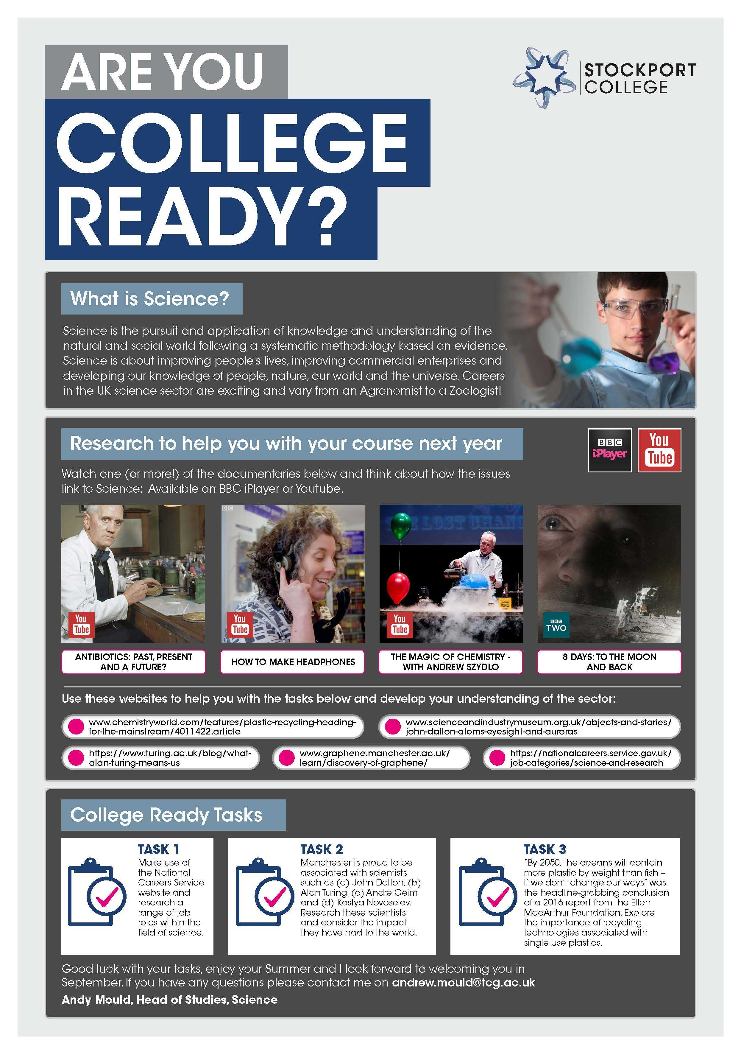 Are You College Ready Transition Leaflet Science STOCKPORT Jun20