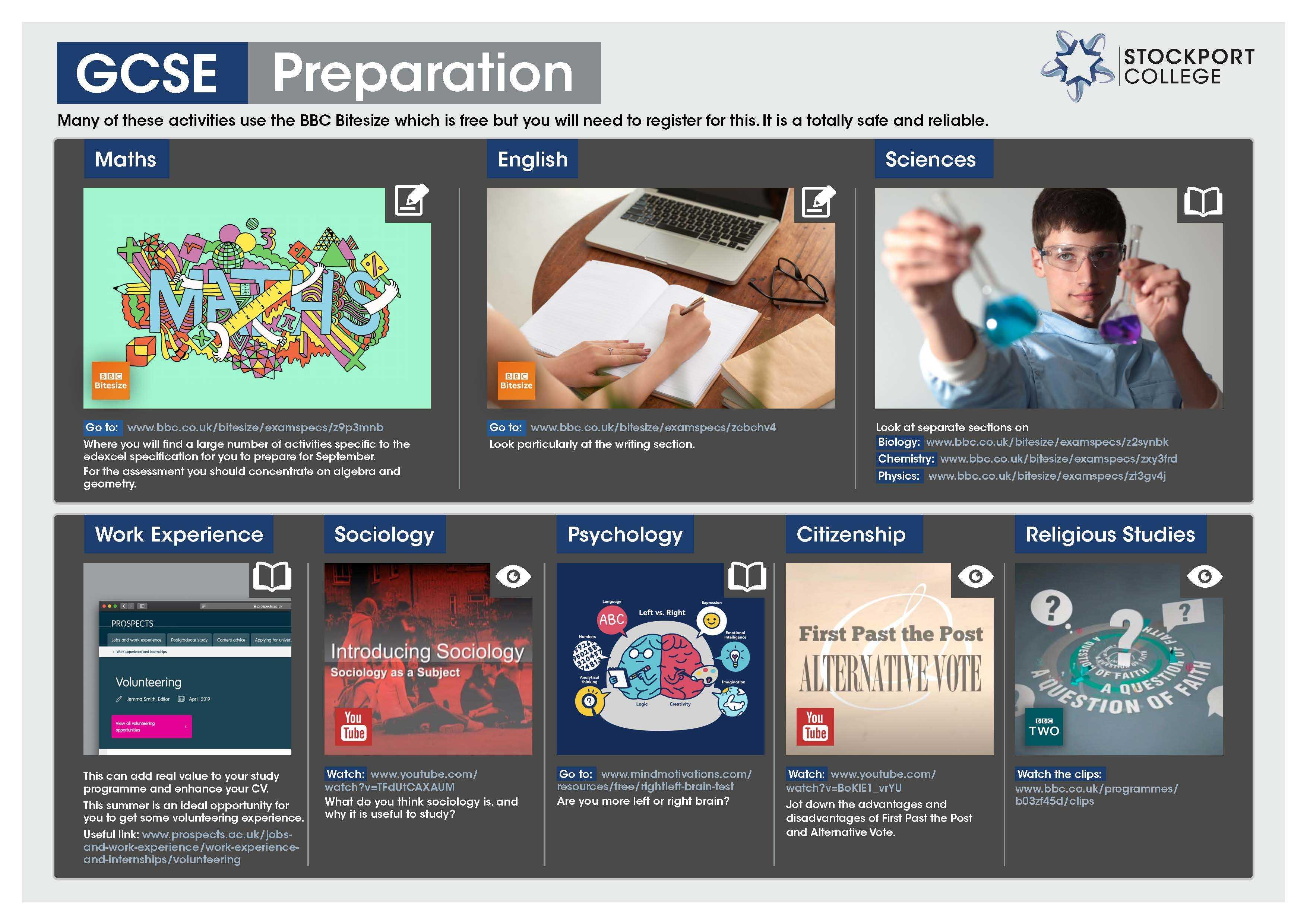 GCSE Preparation Transition Leaflet STOCKPORT Jun20