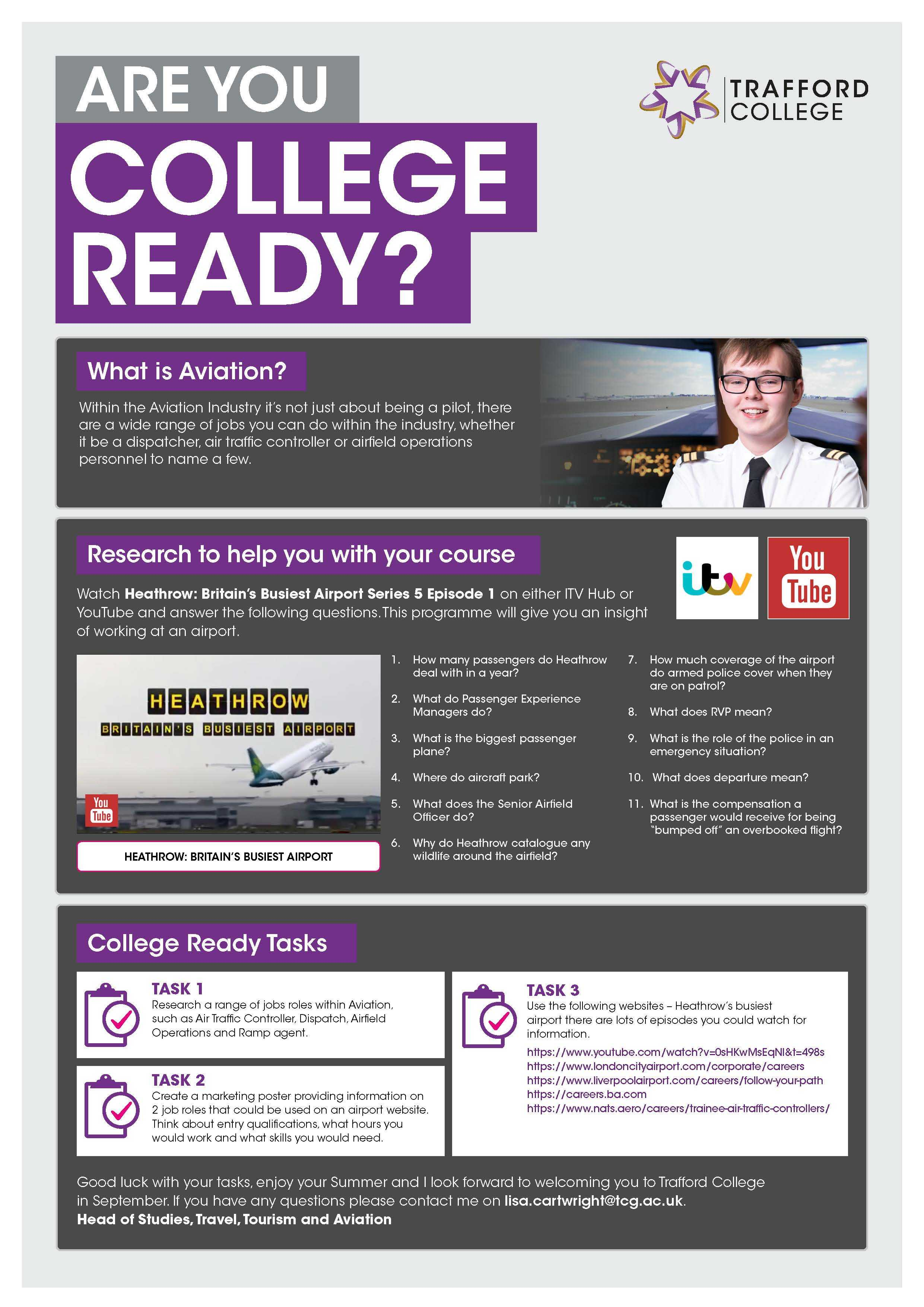 Are You College Ready Transition Leaflet Aviation TRAFFORD Jun20