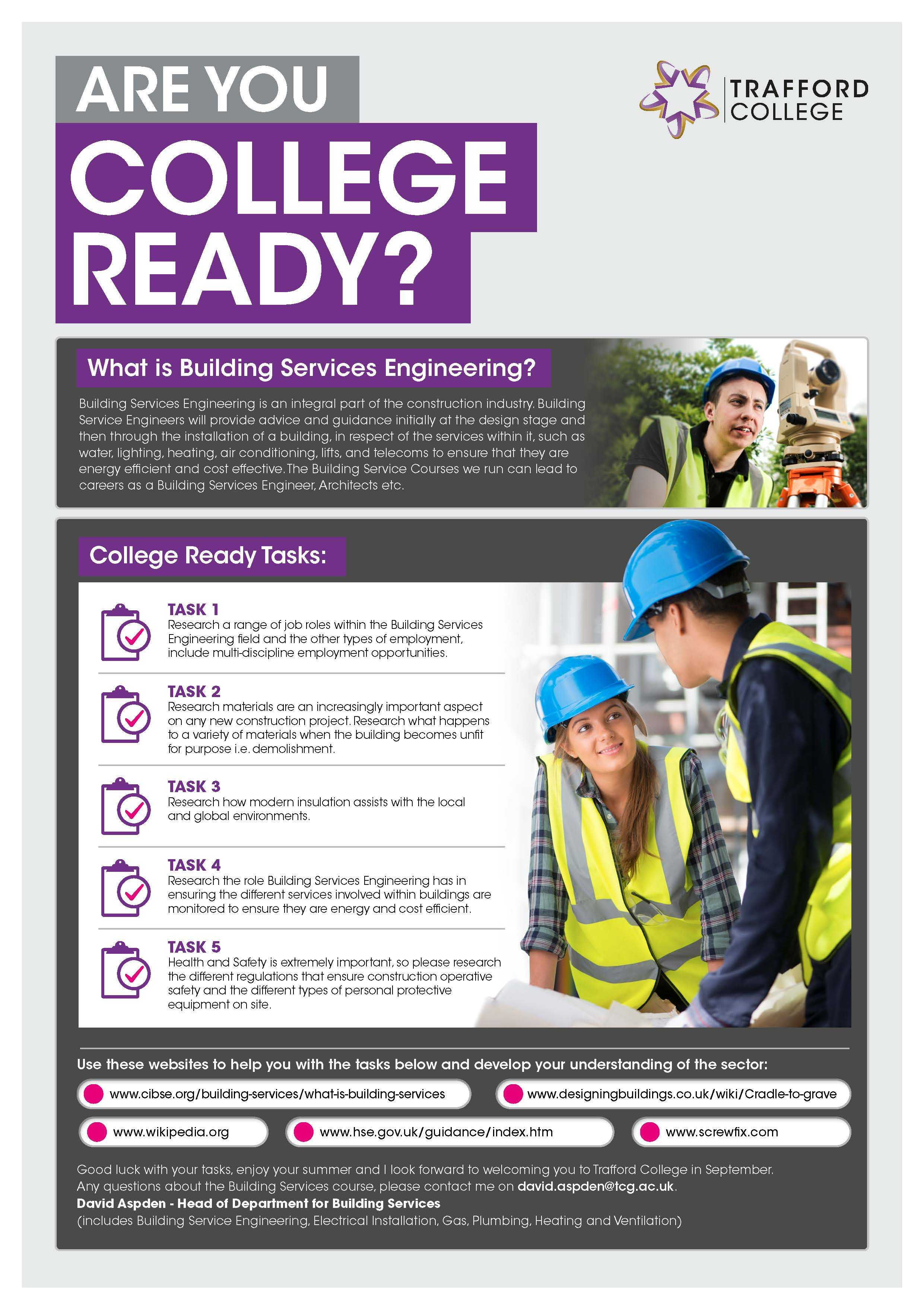 Are You College Ready Transition Leaflet Building Services Engineering TRAFFORD Jun20