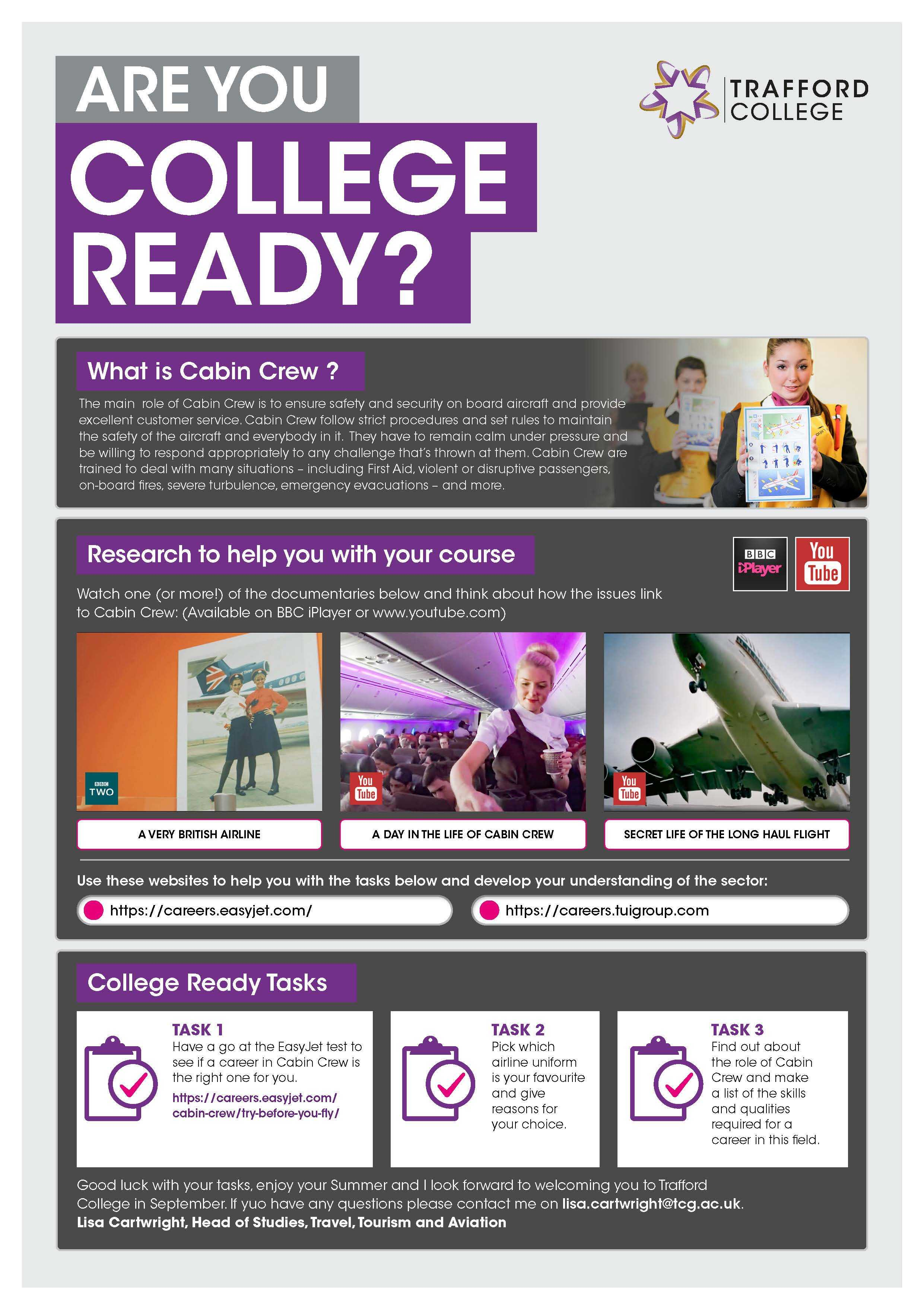 Are You College Ready Transition Leaflet Cabin Crew TRAFFORD Jun20