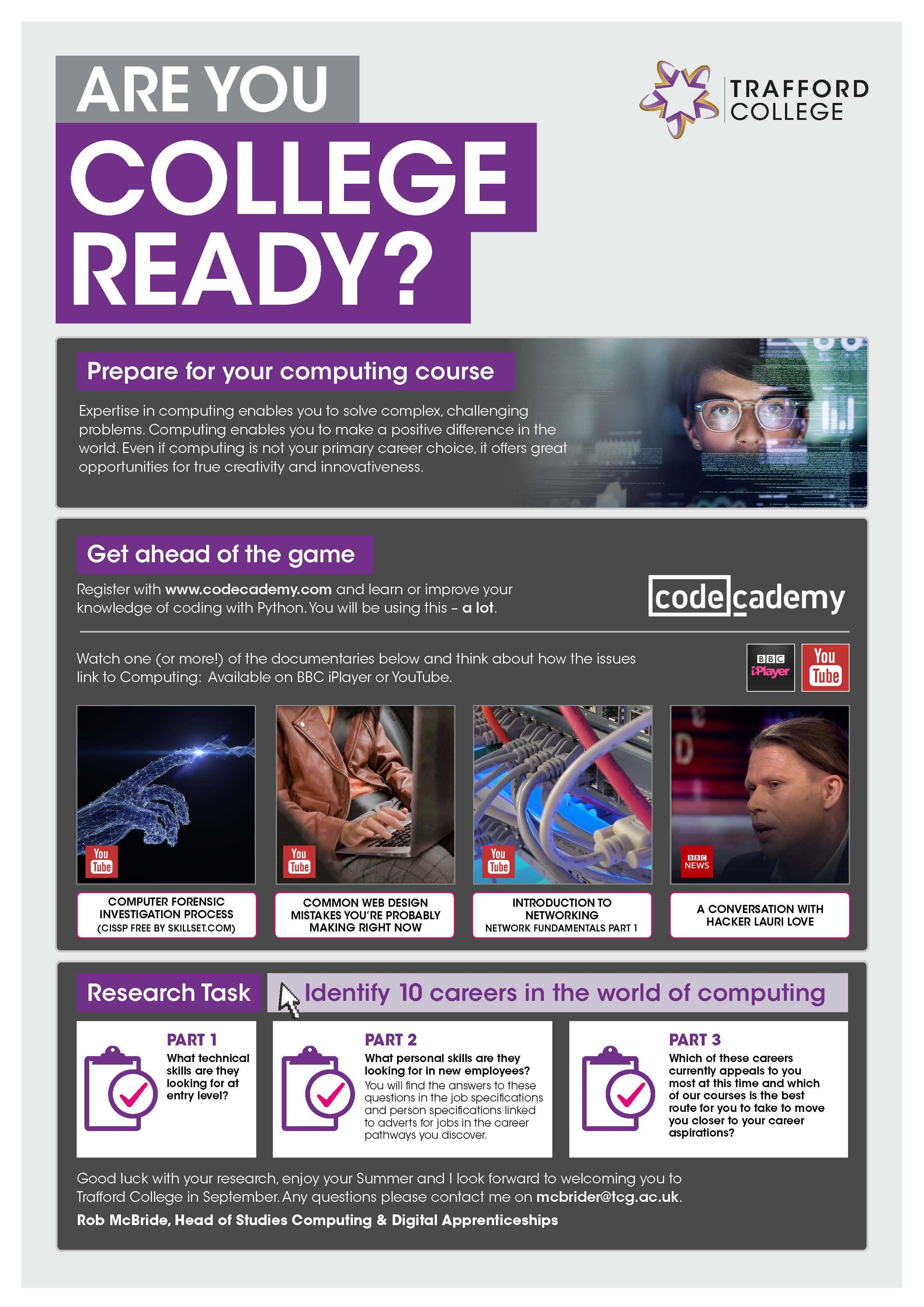 Are You College Ready Transition Leaflet Computing TRAFFORD Jun20