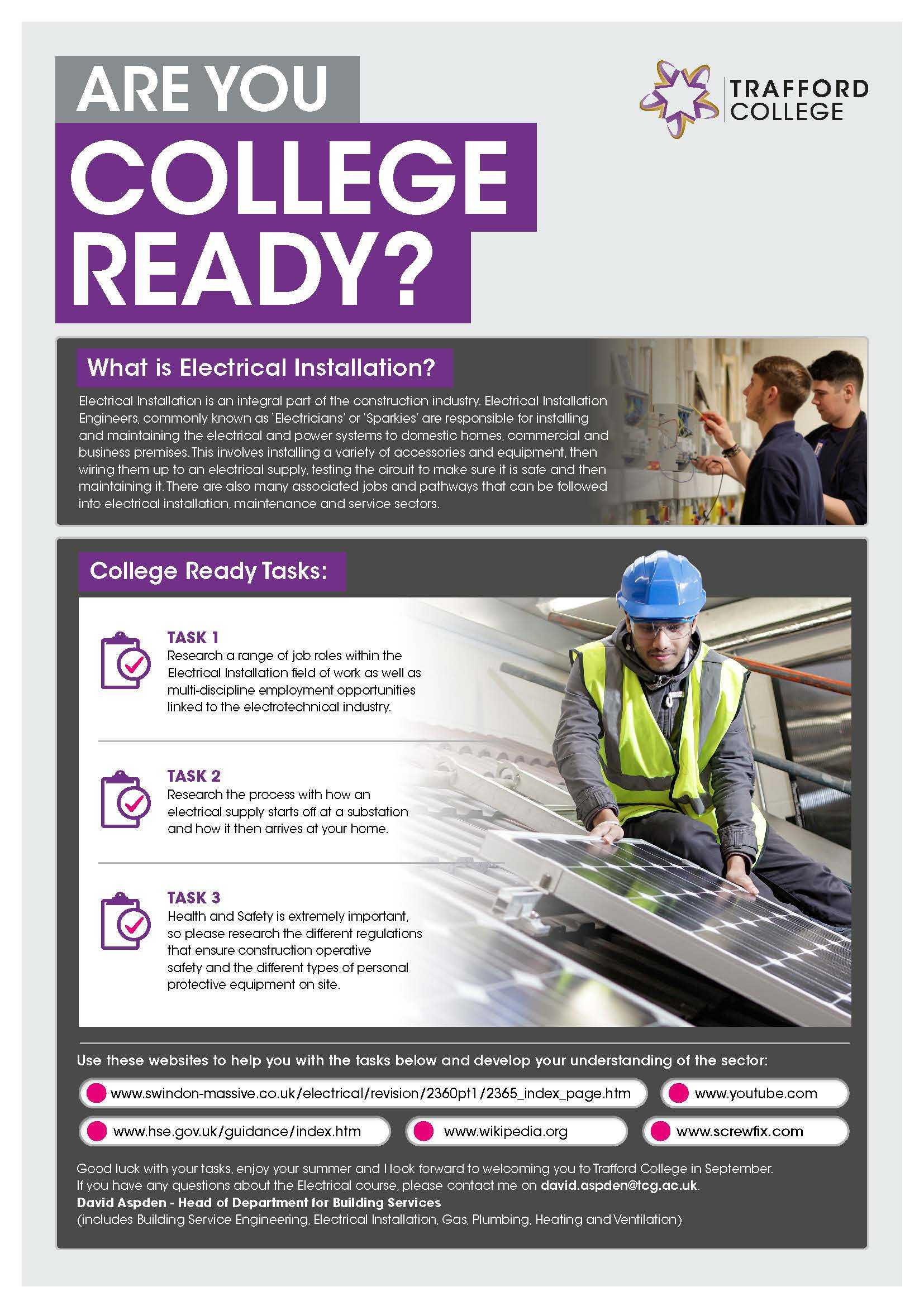 Are You College Ready Transition Leaflet Electricalnstallation TRAFFORD Jun20