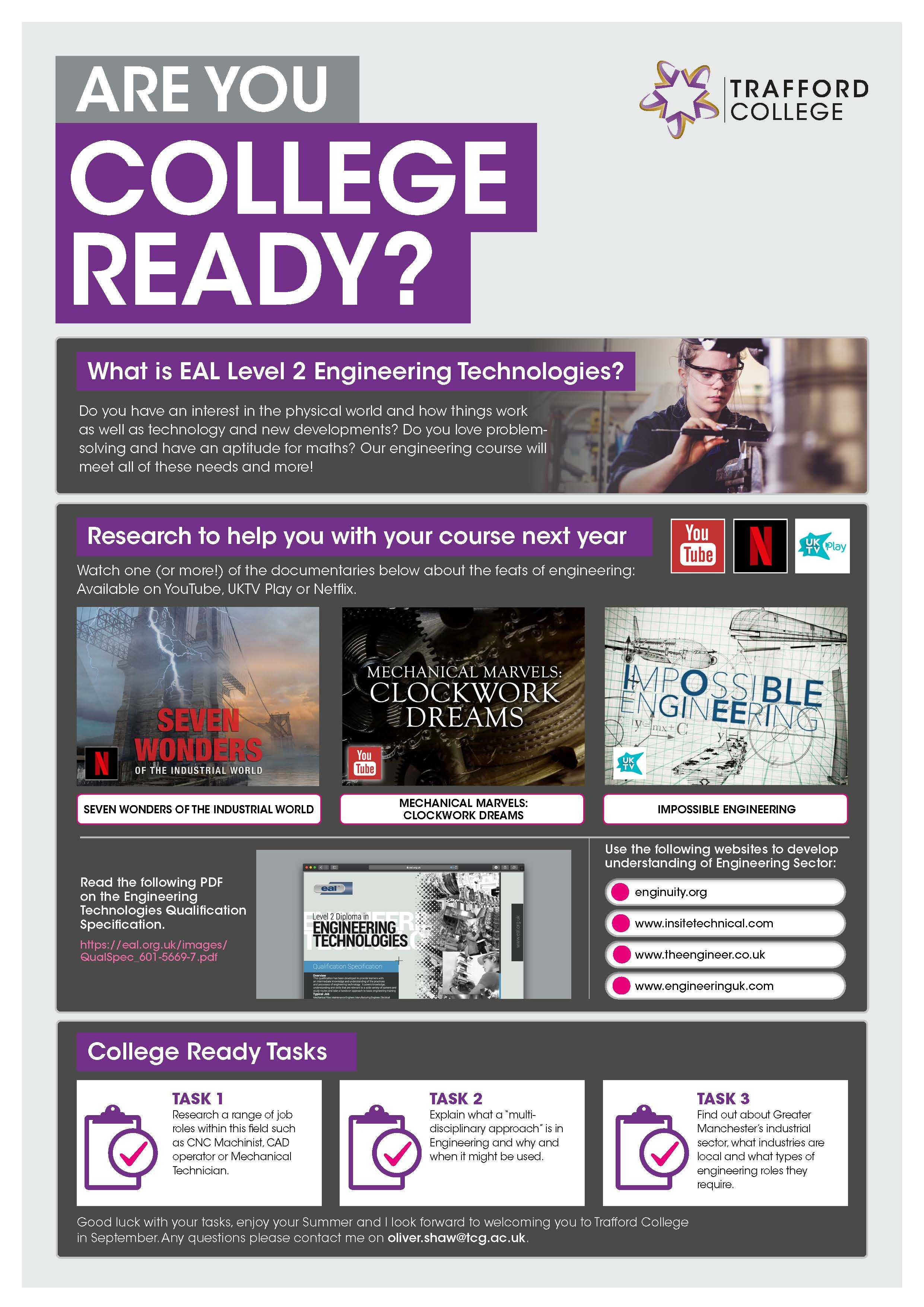 Are You College Ready Transition Leaflet Engineering TRAFFORD Jun20