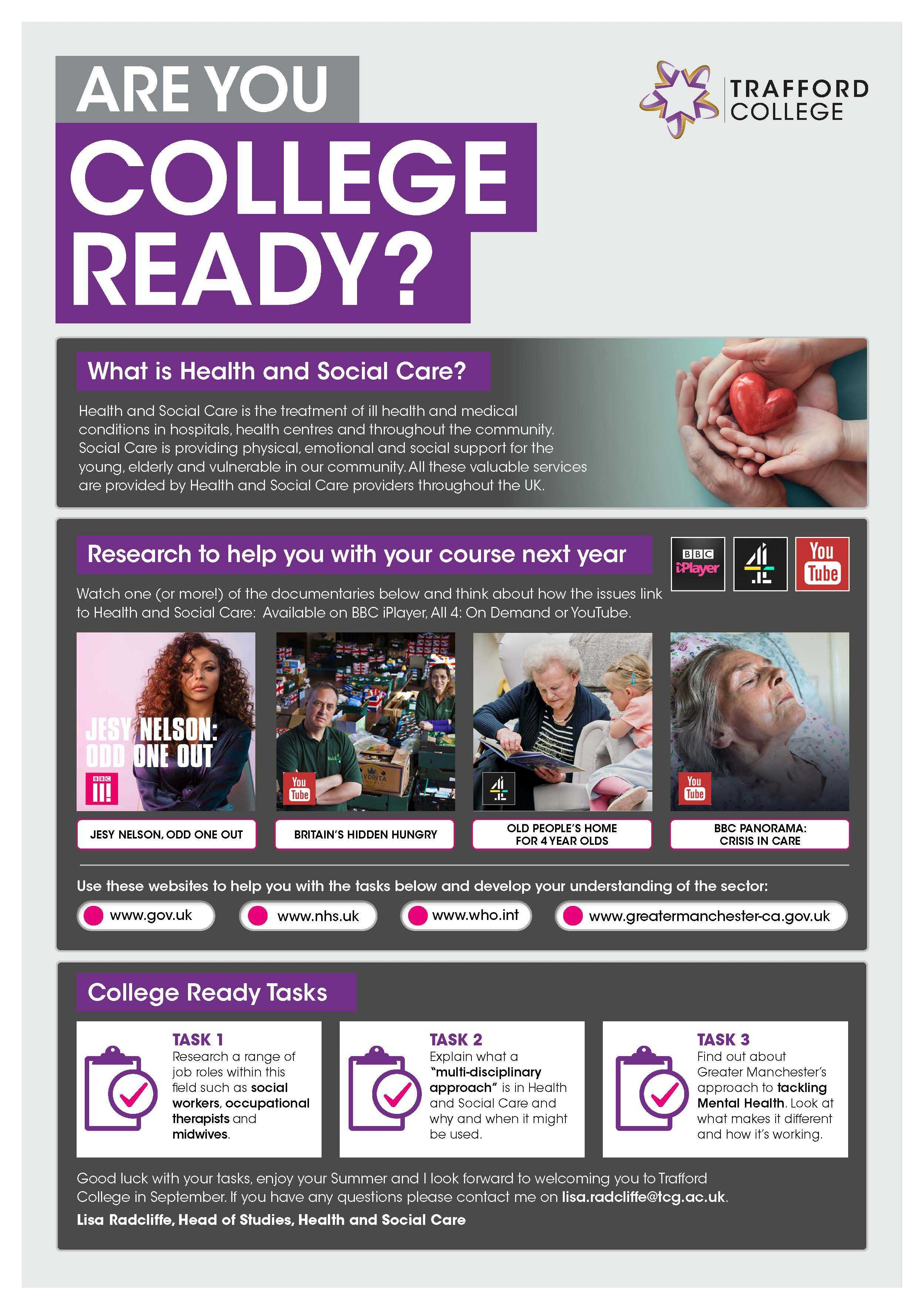 Are You College Ready Transition Leaflet Health Social Care TRAFFORD Jul20