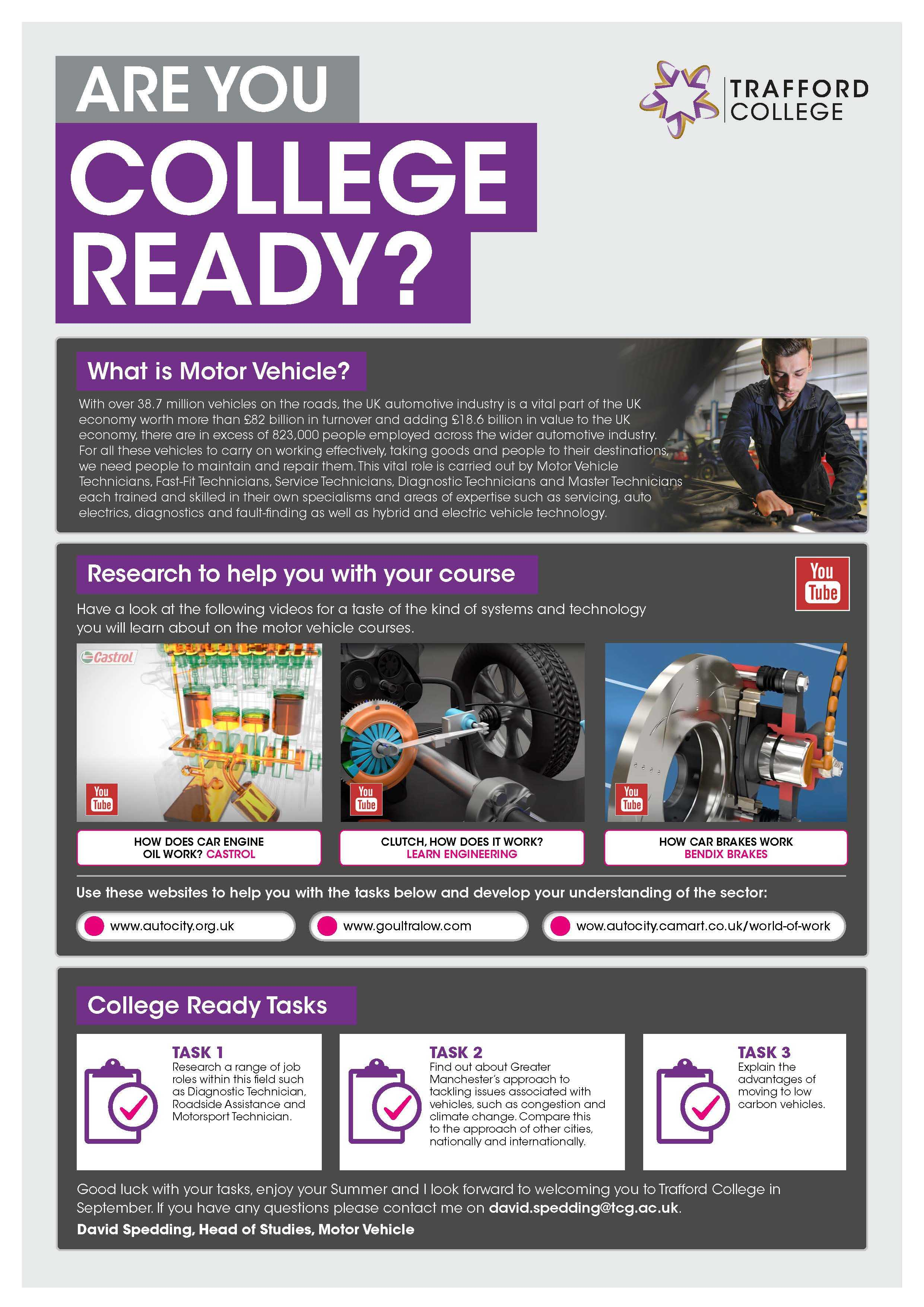 Are You College Ready Transition Leaflet Motor Vehicle TRAFFORD Jun20