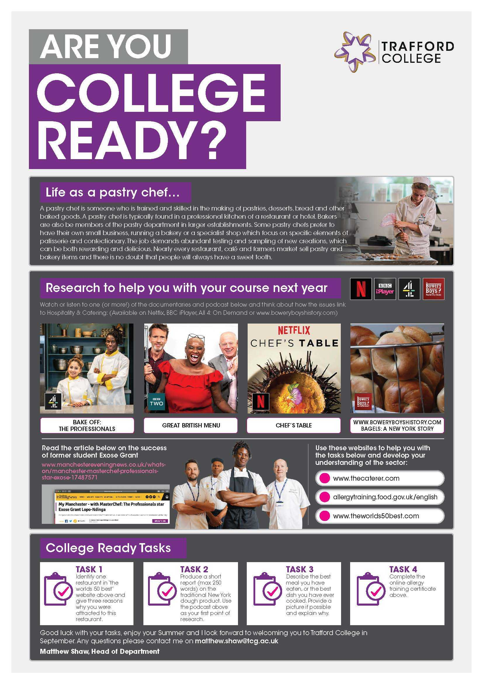 Are You College Ready Transition Leaflet Pastry Chef TRAFFORD May20