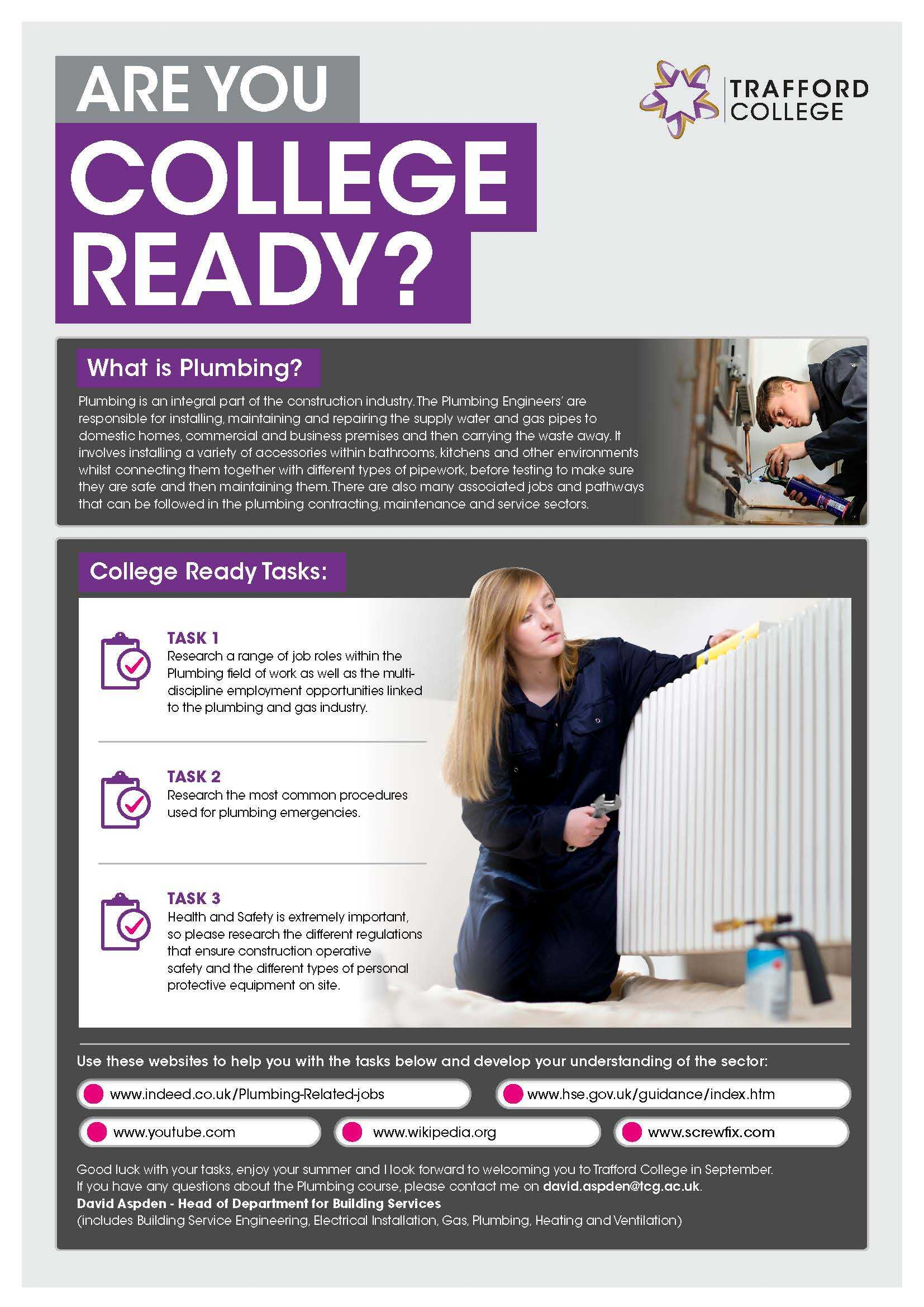 Are You College Ready Transition Leaflet Plumbing TRAFFORD Jun20